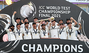 New Zealand cricketers celebrating their win.
