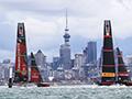 Team New Zealand racing Luna Rossa in Auckland.