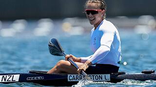 Lisa Carrington in a kayak.
