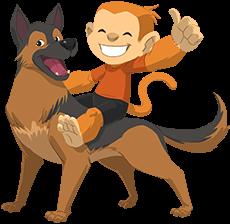 Monkey riding a dog