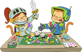 Two monkeys in costumes playing a board game.